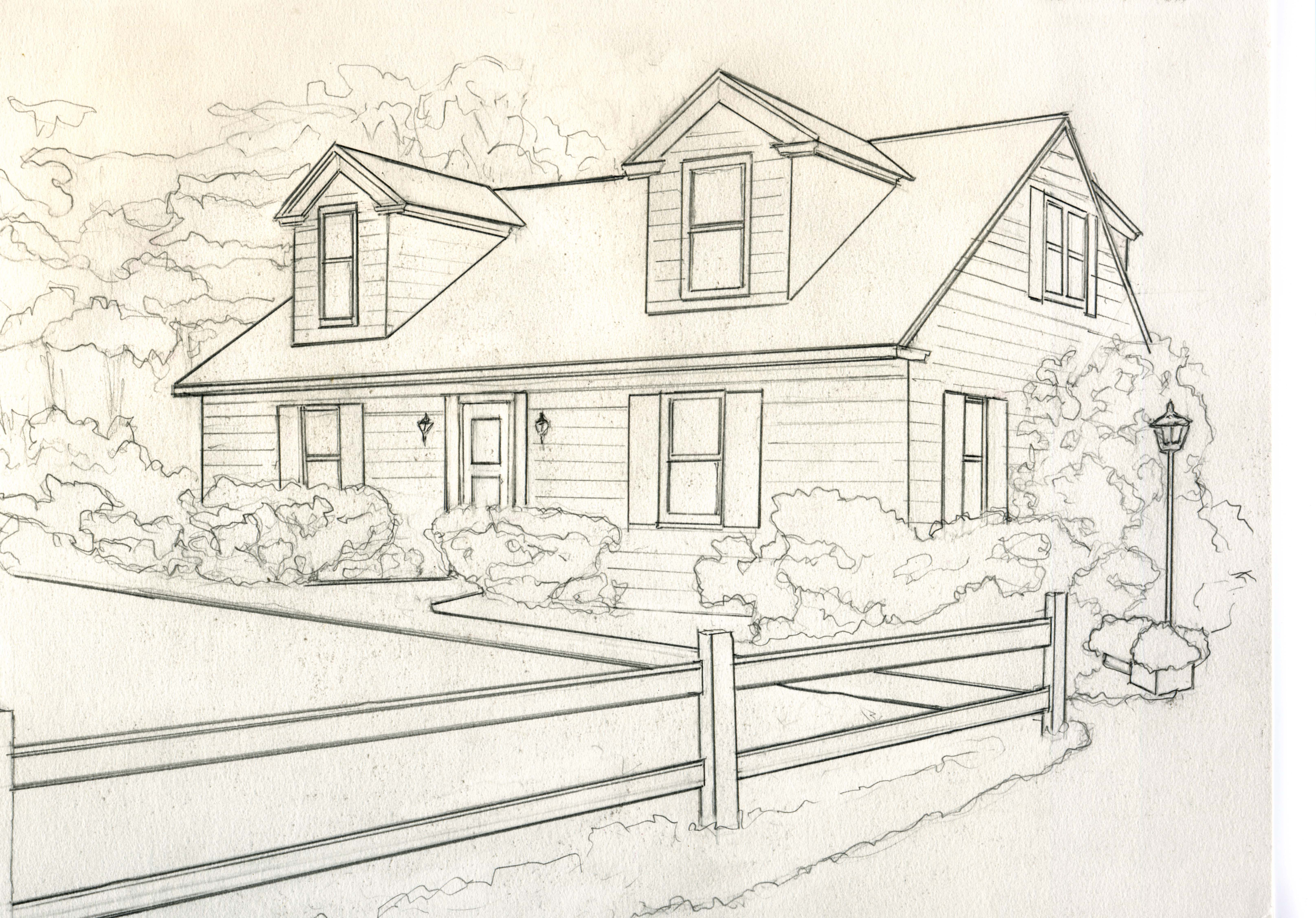 house for catelog drawing B greyscale small | Kathleen Kelley