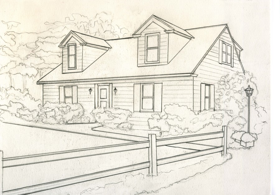 House For Catelog Drawing B Greyscale Small Kathleen Kelley