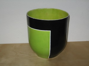 Green and Black Ikebana vase